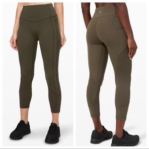 """Lululemon All The Right Places Crop II *23"""" Olive"""